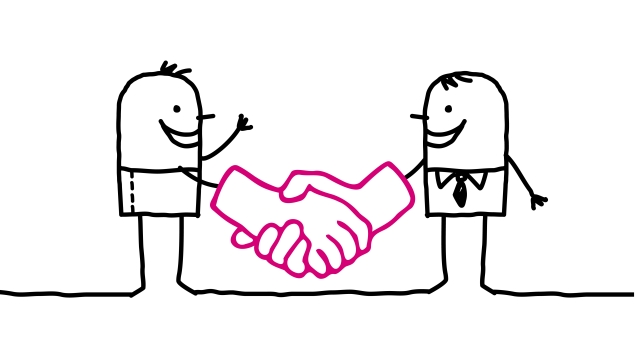 Drawing of two people shaking hands.