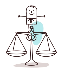 Drawing of a man standing on a balance scale.