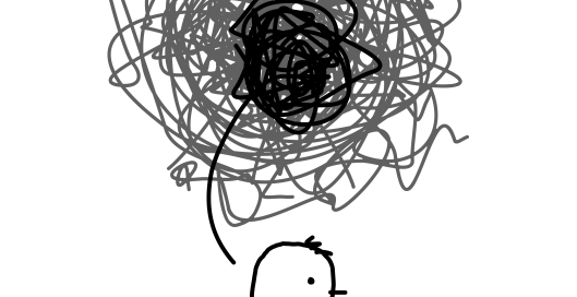 Drawing of a person with a sad face and worried and stressed mind.