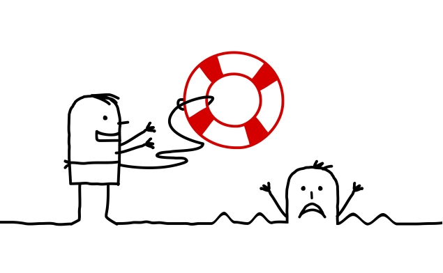 One man throwing a life preserver to a drowning man