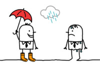 Drawing of man offering an umbrella in the rain to a sad person.