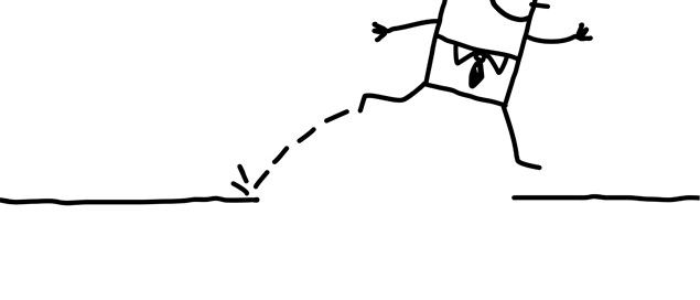 Drawing of a person jumping over a river.