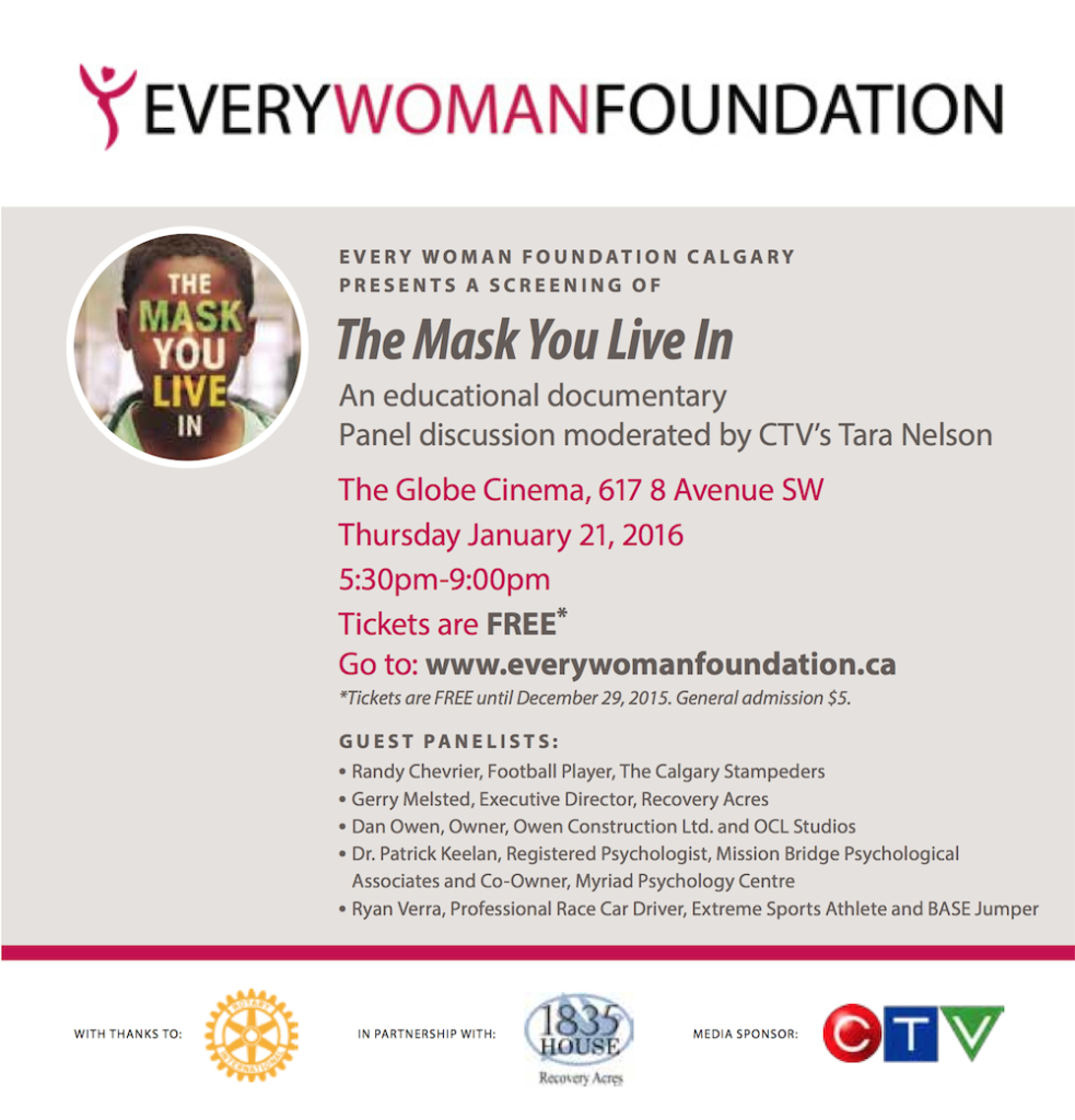 The Mask You Live In Screening by The Every Woman Foundation of Calgary